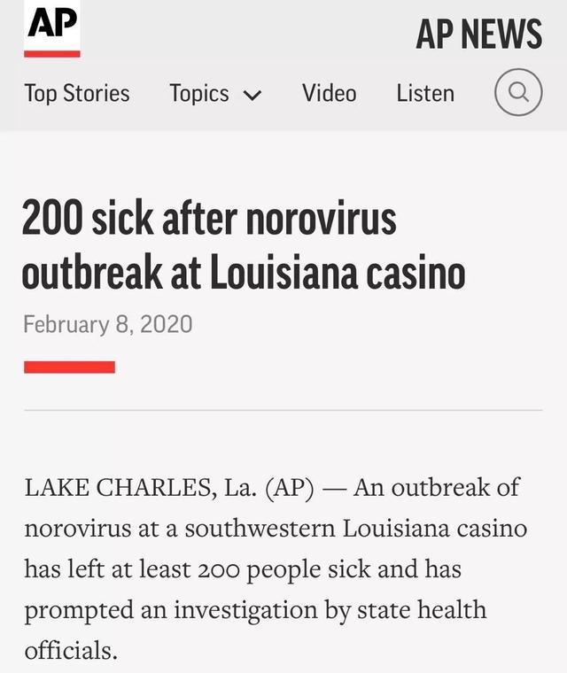 美国爆发诺如病毒,网友@纽约时报