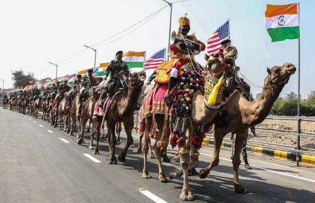 为迎接特朗普,印度警察骑骆驼巡街,还修了堵墙
