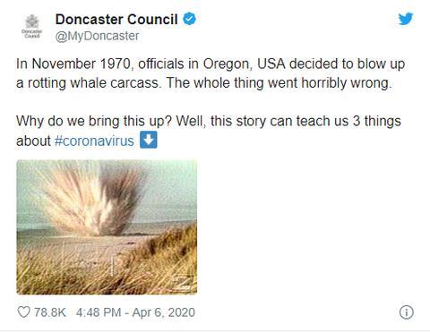 """疫情期间,英国小镇用50年前""""炸鲸""""事件告诫民众:老实待在家里"""