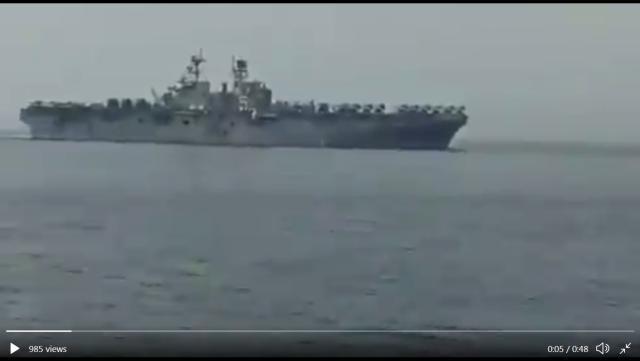 伊朗海军近距侦察美国两栖巨舰,双方均未出现挑衅