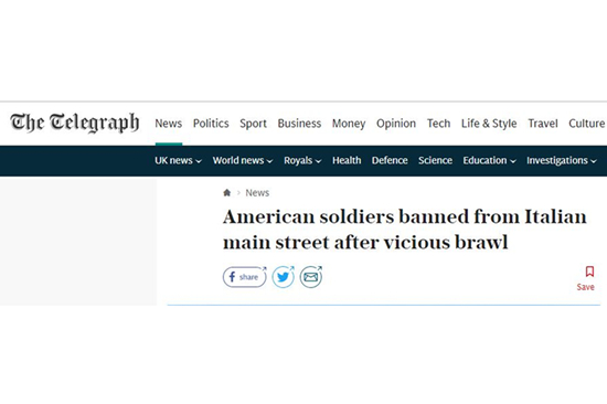 多名美空降兵在意大利酒吧围殴市民 上校:谁再去就处分谁