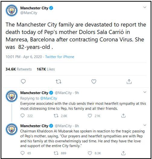 欧洲足坛顶级名帅瓜迪奥拉母亲因新冠去世