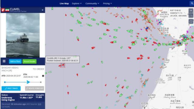 为了委内瑞拉 伊朗油轮与美国军舰或在海上对峙!