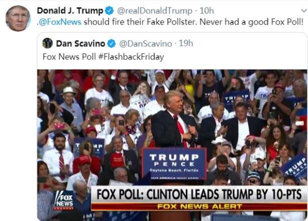 一周3次炮轰福克斯!特朗普:干脆去发布CNN民调!
