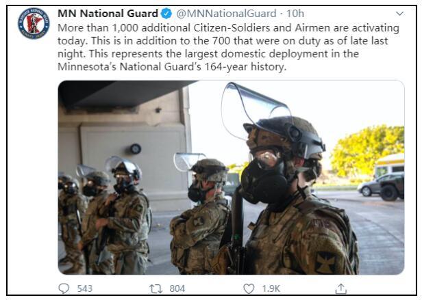 美国明尼苏达州国民警卫队将进行164年来最大国内部署