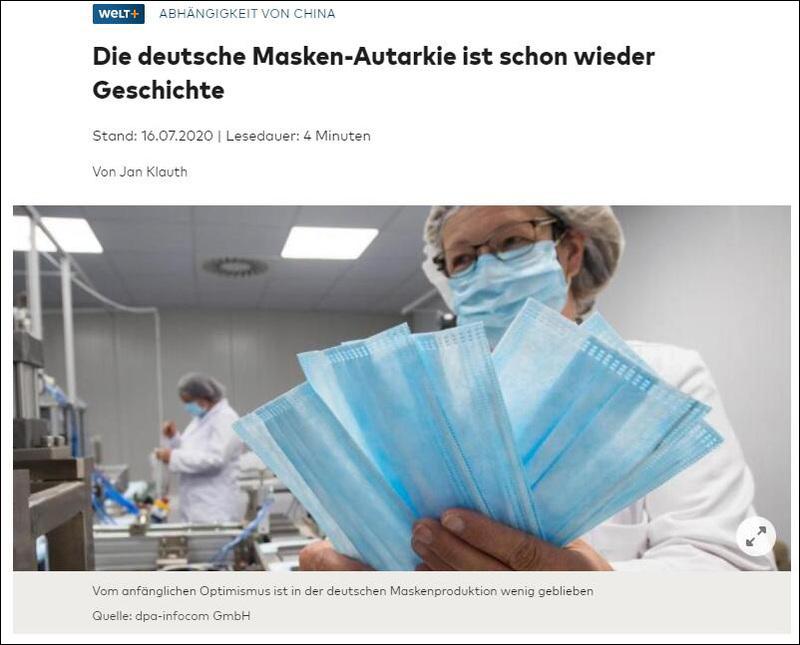 德国口罩自给自足计划失败,德媒直言:幸亏有中国在