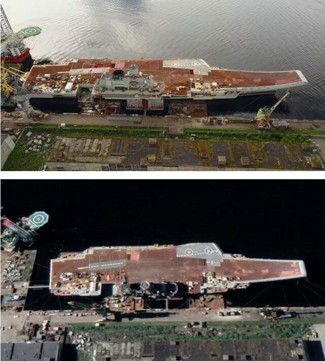 还是没变化,军港扩建迟迟不见完工,俄唯一航母继续窝趴