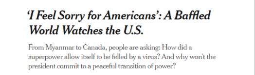 美媒直言:全球认为当今美国的行事风格像个第三世界国家