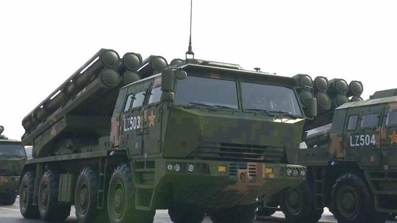 国产新式火箭炮再次公开亮相 震慑台军大部分机场!