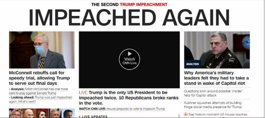 历史上第一,特朗普遭第二次弹劾!