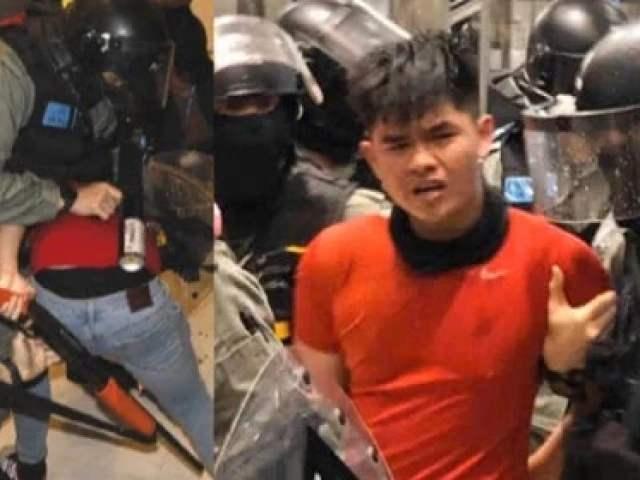 香港红衣暴徒袭警夺枪 手指扣到扳机瞬间……
