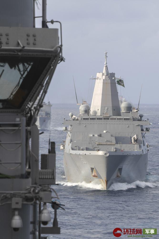 总吨位超10万吨!美国4艘两栖巨舰现身南海周边