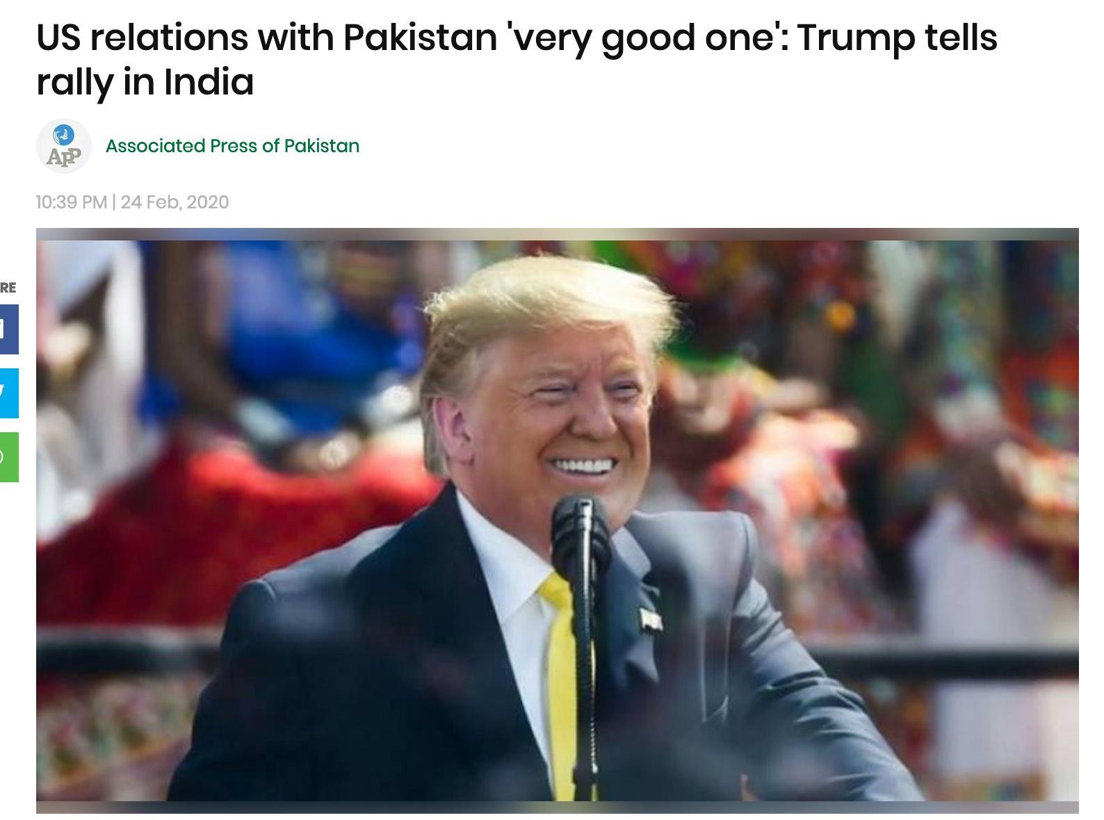 """当着数万印度民众的面 特朗普说""""我们与巴基斯坦关系非常好"""""""