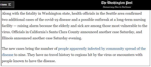 又是华盛顿州:一养老院两人确诊,50多人出现明显症状