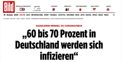 默克尔警告:60%-70%在德国的人将感染新冠病毒