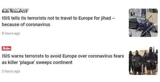 英媒:连IS都害怕了,向病毒低头 禁止去欧洲活动