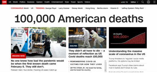 """美媒:国家的脆弱和危险的分裂!""""美国疫情死亡人数已超10万"""