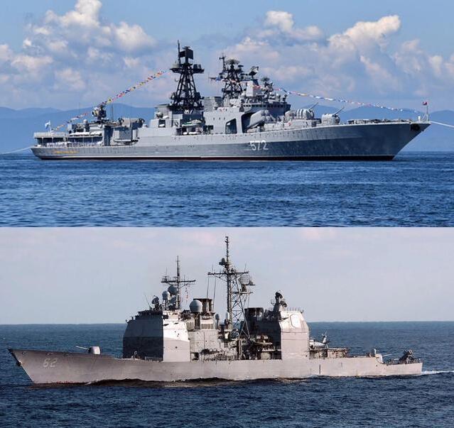 美俄军舰太平洋险相撞,俄军不当回事超淡定,脱光甲板享受日光浴